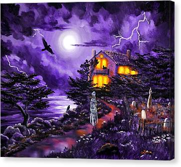 Graveyard Canvas Print - The Night's Plutonian Shore by Laura Iverson