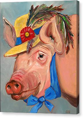 Canvas Print featuring the painting The Noble Pig by Susan Thomas