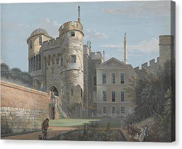 The Norman Gate And Deputy Governor's House Canvas Print by Paul Sandby