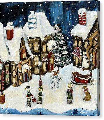 Elves Canvas Print - The North Pole by Carrie Joy Byrnes