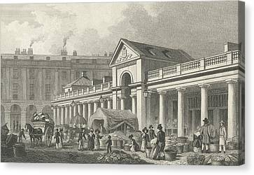 The North West Facade Of The New Covent Garden Market Canvas Print by Thomas Hosmer Shepherd