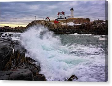 Cape Neddick Lighthouse Canvas Print - The Nubble After A Storm by Rick Berk