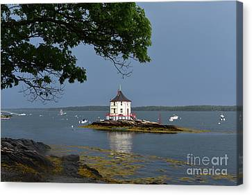 The Nubble During A Storm Canvas Print by DejaVu Designs
