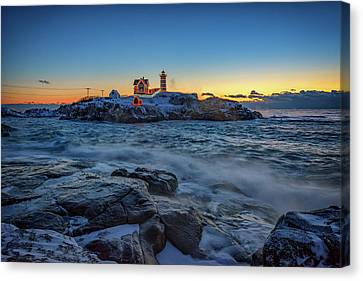 The Nubble In Winter Canvas Print by Rick Berk
