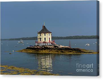 The Nubble Located On A Rock In Maine Canvas Print by DejaVu Designs