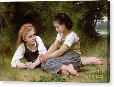 Chat Canvas Print - The Nut Gatherers by William-Adolphe Bouguereau