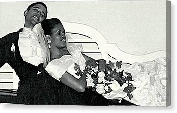 The Obamas Wedding Day - 1992 Canvas Print by Merton Allen