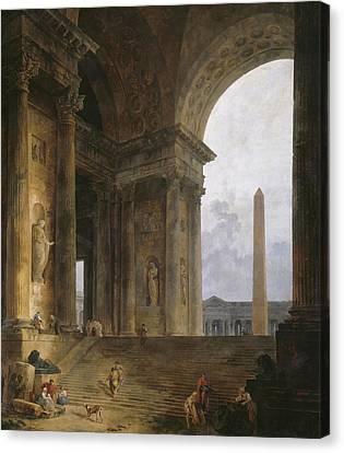 The Obelisk Canvas Print by Hubert Robert
