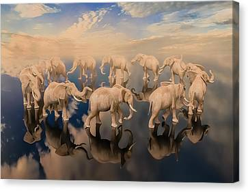 Elephants Canvas Print - The Obsessive Thought by Betsy Knapp
