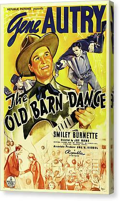Old Barn Drawing Canvas Print - The Old Barn Dance 1938 by Mountain Dreams