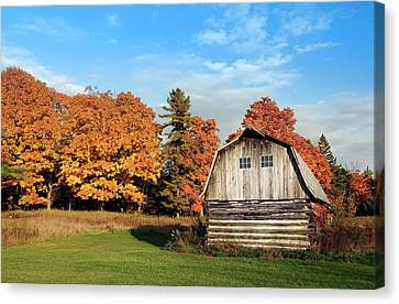The Old Barn In Autumn Canvas Print by Heidi Hermes