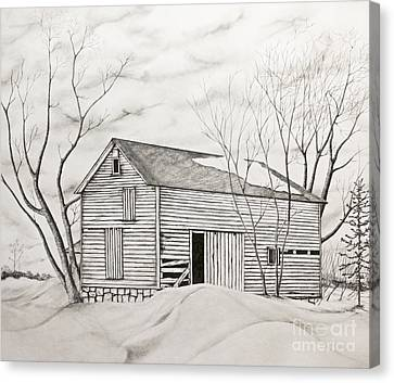 Canvas Print featuring the drawing The Old Barn Inwinter by John Stuart Webbstock