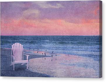 Topsail Island Canvas Print - The Old Beach Chair by Betsy Knapp