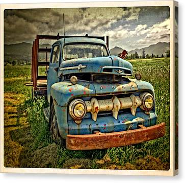 The Blue Classic 48 To 52 Ford Truck Canvas Print by Thom Zehrfeld