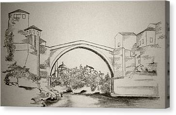 Nobody Canvas Print - The Old Bridge In Mostar by Ramo Sabanovic