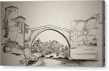 The Old Bridge In Mostar Canvas Print by Ramo Sabanovic