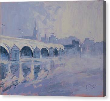The Old Bridge Of Maastricht In Morning Fog Canvas Print by Nop Briex