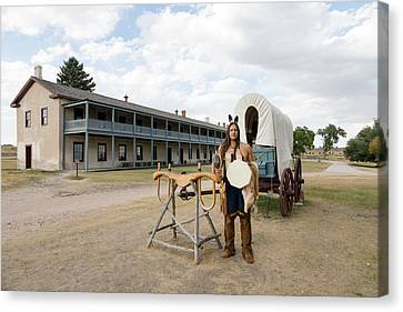Canvas Print featuring the photograph The Old Cavalry Barracks At Fort Laramie National Historic Site by Carol M Highsmith