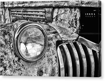 White Chevy Canvas Print - The Old Chevy Truck Black And White by JC Findley