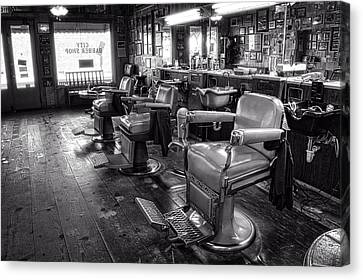 The Old City Barber Shop In Black And White Canvas Print