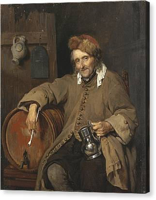 Real Experiences Canvas Print - The Old Drinker, 1663 by Gabriel Metsu