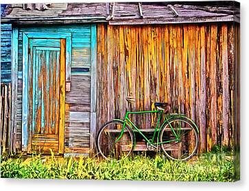The Old Green Bicycle Canvas Print by Edward Fielding