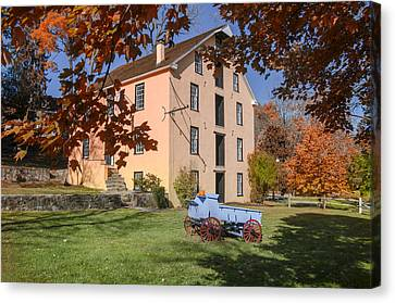 The Old Grist Mill In Autumn Canvas Print by Bill Cannon