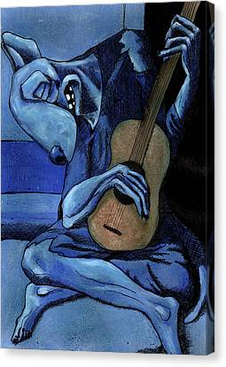 The Old Guitar Dog Canvas Print