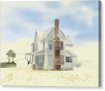 Canvas Print featuring the painting The Home Place - Silent Eyes by Joel Deutsch