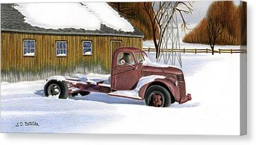 Pencil Drawing Canvas Print - The Old Jalopy by Sarah Batalka