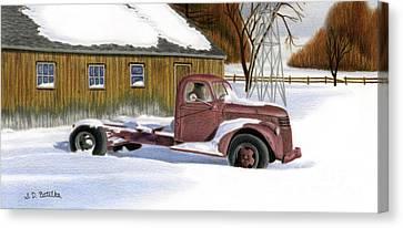 Snow Canvas Print - The Old Jalopy by Sarah Batalka