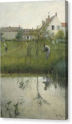 The Old Man And The Nursery Garden Canvas Print by Carl Larsson