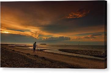 Shoreline Old Men Canvas Print - The Old Man And The Sea by Elena Paraskeva