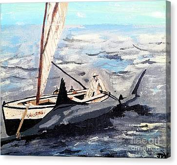 Shoreline Old Men Canvas Print - The Old Man And The Sea - The Great Battle by Scott D Van Osdol
