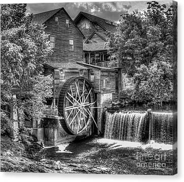 The Old Mill B W The Pigeon Forge Mill Art Great Smoky Mountains Art Canvas Print by Reid Callaway