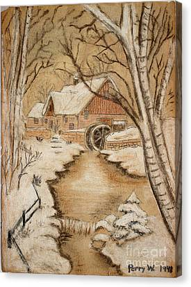 The Old Mill By George Perry Wood 1941 Canvas Print by Karen Adams