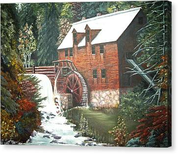 Canvas Print featuring the painting The Old Mill by Diane Daigle