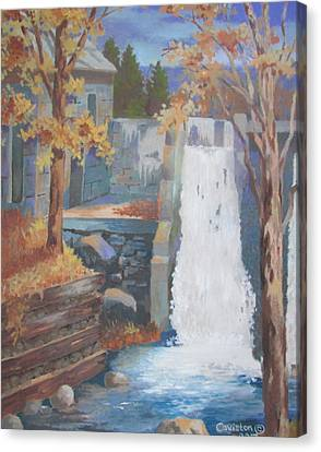 Canvas Print featuring the painting The Old Mill Falls by Tony Caviston