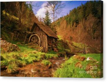 Log Cabin Interiors Canvas Print - The Old Mill by Sarah Kirk