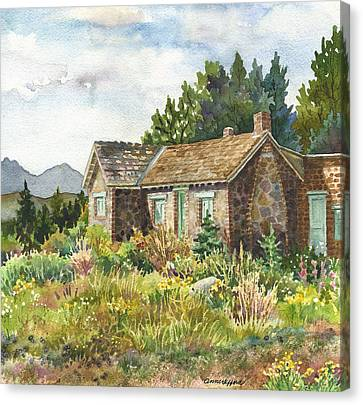 Canvas Print featuring the painting The Old Moore House At Caribou Ranch by Anne Gifford