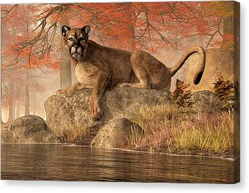 Log Cabin Canvas Print - The Old Mountain Lion by Daniel Eskridge