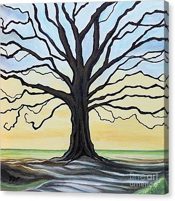 The Stained Old Oak Tree Canvas Print by Elizabeth Robinette Tyndall