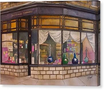 The Old Pharmacy Canvas Print by Victoria Heryet