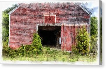The Old Red Barn At Nutt Farm Etna Nh Canvas Print by Edward Fielding