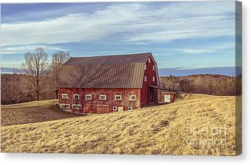 The Old Red Barn In Winter Canvas Print by Edward Fielding