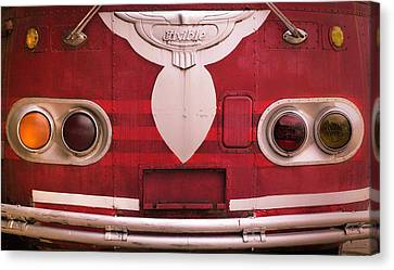 Canvas Print featuring the photograph The Old Red Bus by Heidi Hermes