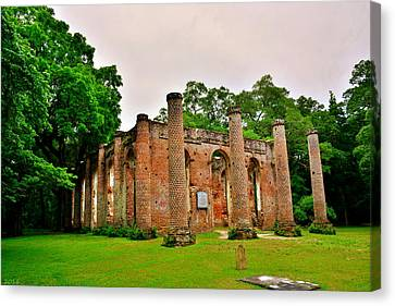 The Old Sheldon Church Ruins 3 Canvas Print by Lisa Wooten