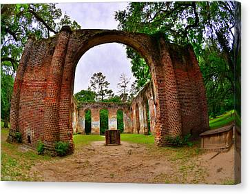 The Old Sheldon Church Ruins 5 Canvas Print by Lisa Wooten