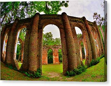 The Old Sheldon Church Ruins 6 Canvas Print by Lisa Wooten