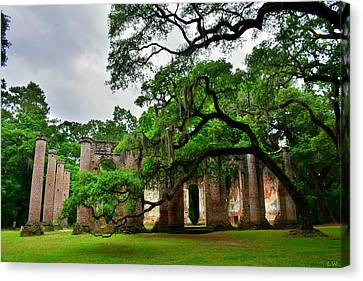 The Old Sheldon Church Ruins Canvas Print by Lisa Wooten